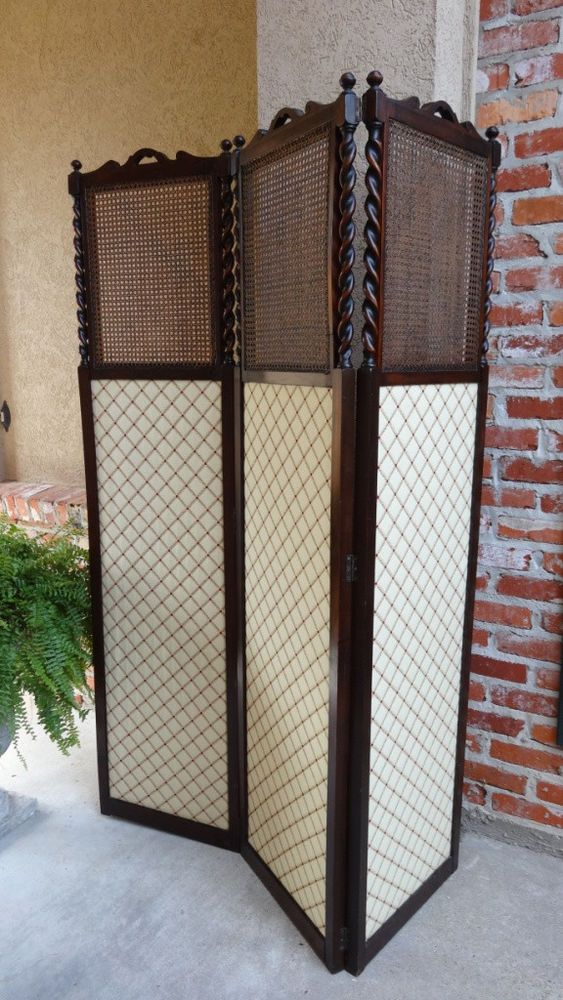 Antique Screen Or A Folding Room Divider Victorian Wooden Pictures Mesh Fabric Other