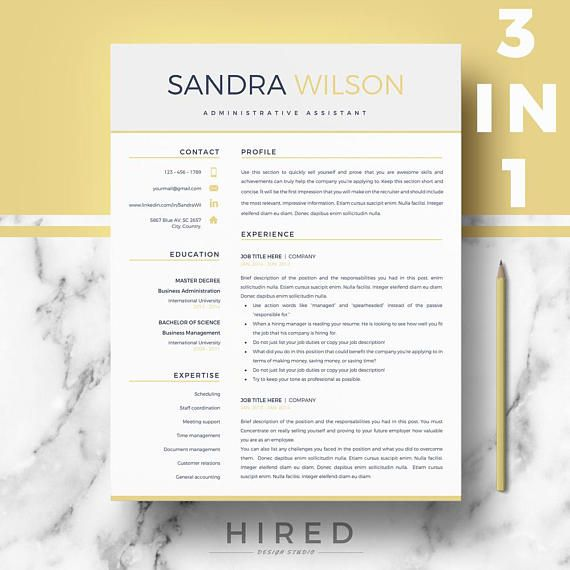 Modern Resume templates Professional Resumes for Ms Word Etsy - resume templates it professional
