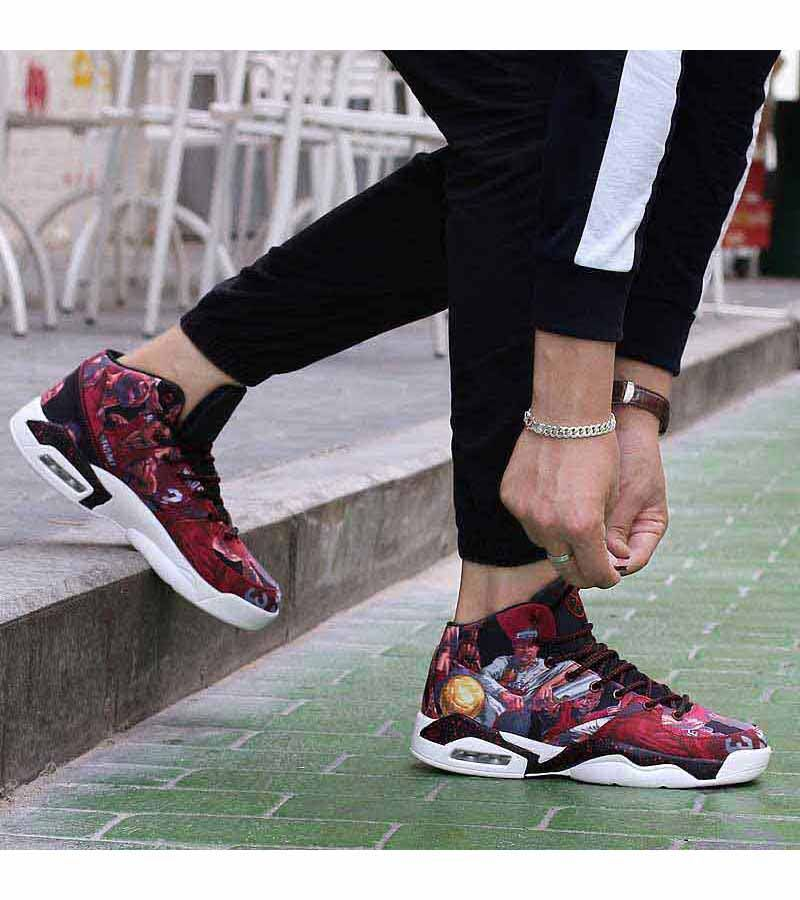 Red Basketball Player Pattern Sport Shoe Sneaker 1441 With Images Sport Shoes Sport Shoes Sneakers Red Basketball Shoes