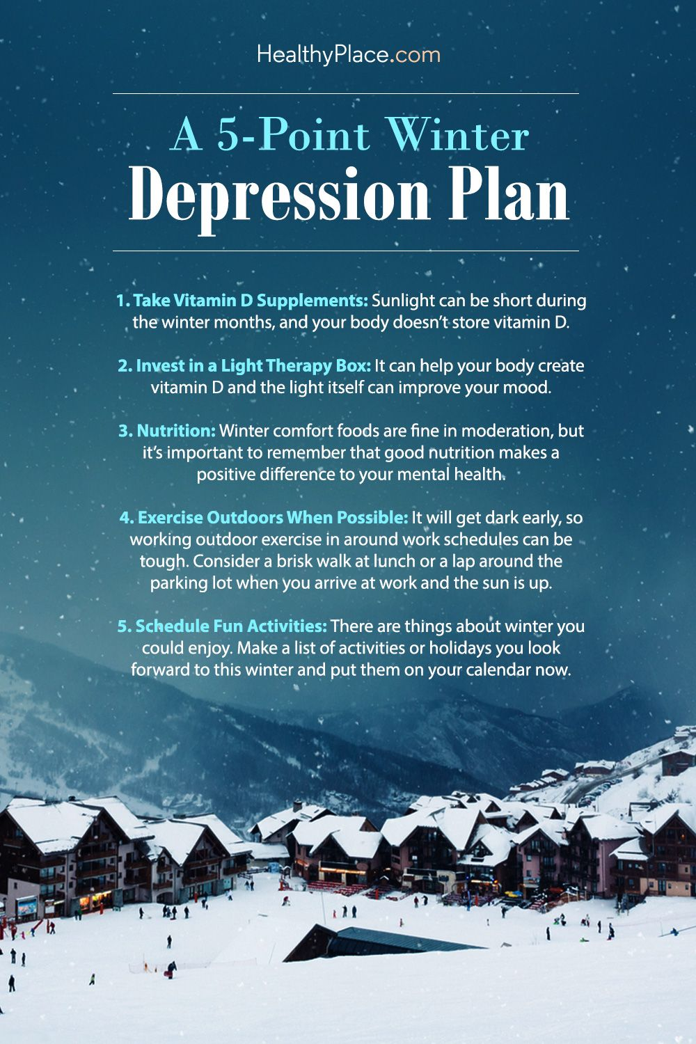 """""""Preparing for winter depression can help prevent or mitigate its effects. Here are some tips to strike a preemptive blow against winter depression. Take a look."""" www.HealthyPlace.com"""