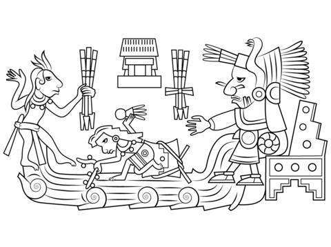Chalchiuhtlicue Diosa Azteca del Agua Dibujo para colorear