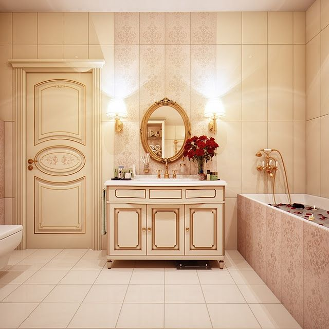 Kicky Russian Style Traditional Bathroom With Decorative Subway Wall Tiles  And Classic Beige Sink Cabinet . Glamorous And Unique World Theme Bathroom  Design ...