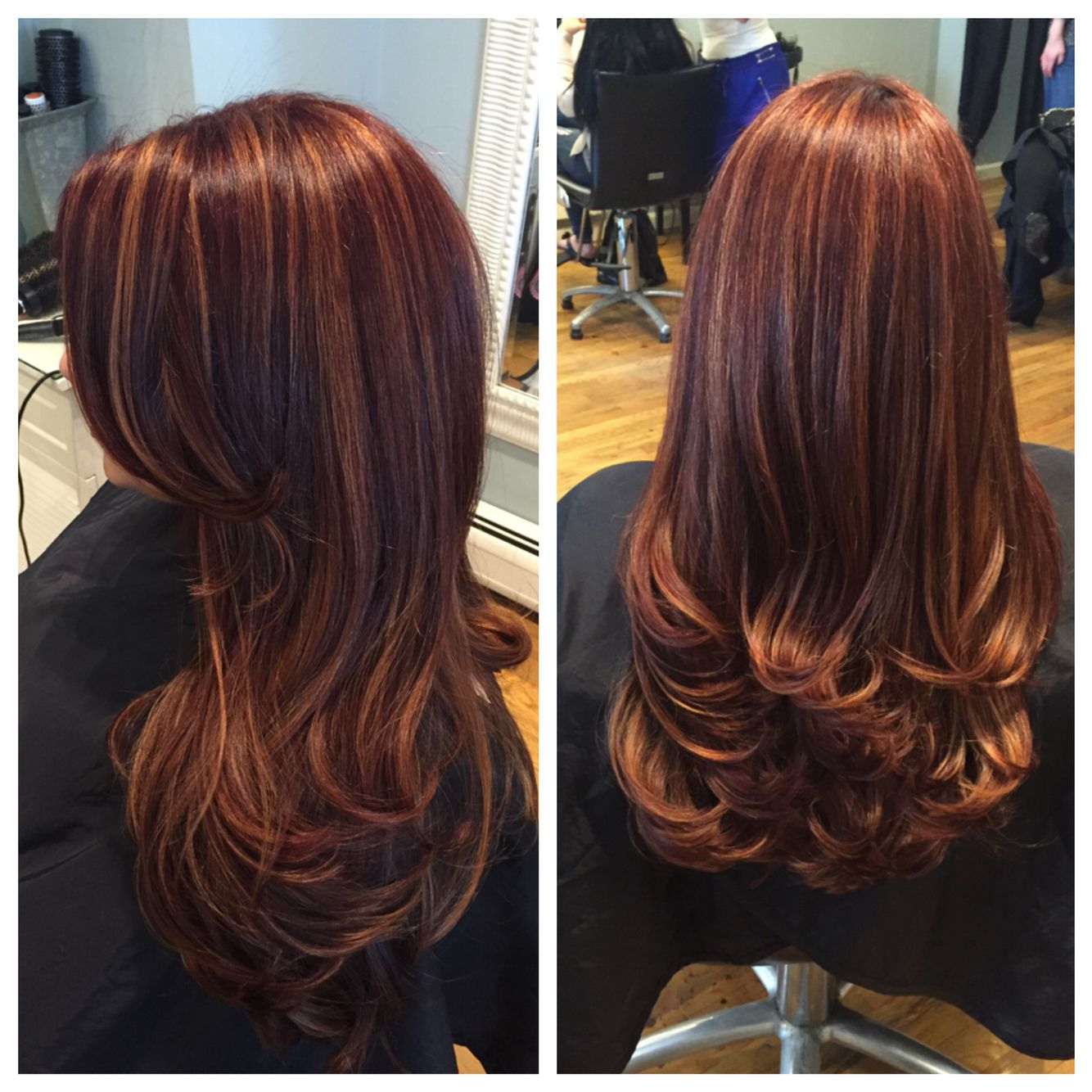 Red With Golden Copper Highlights And A Bouncy Layered Cut Red