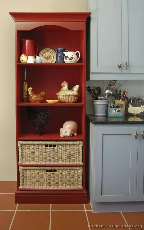 Use A Bookcase Painted In An Accent Color For Kitchen Storage Display Red Accents