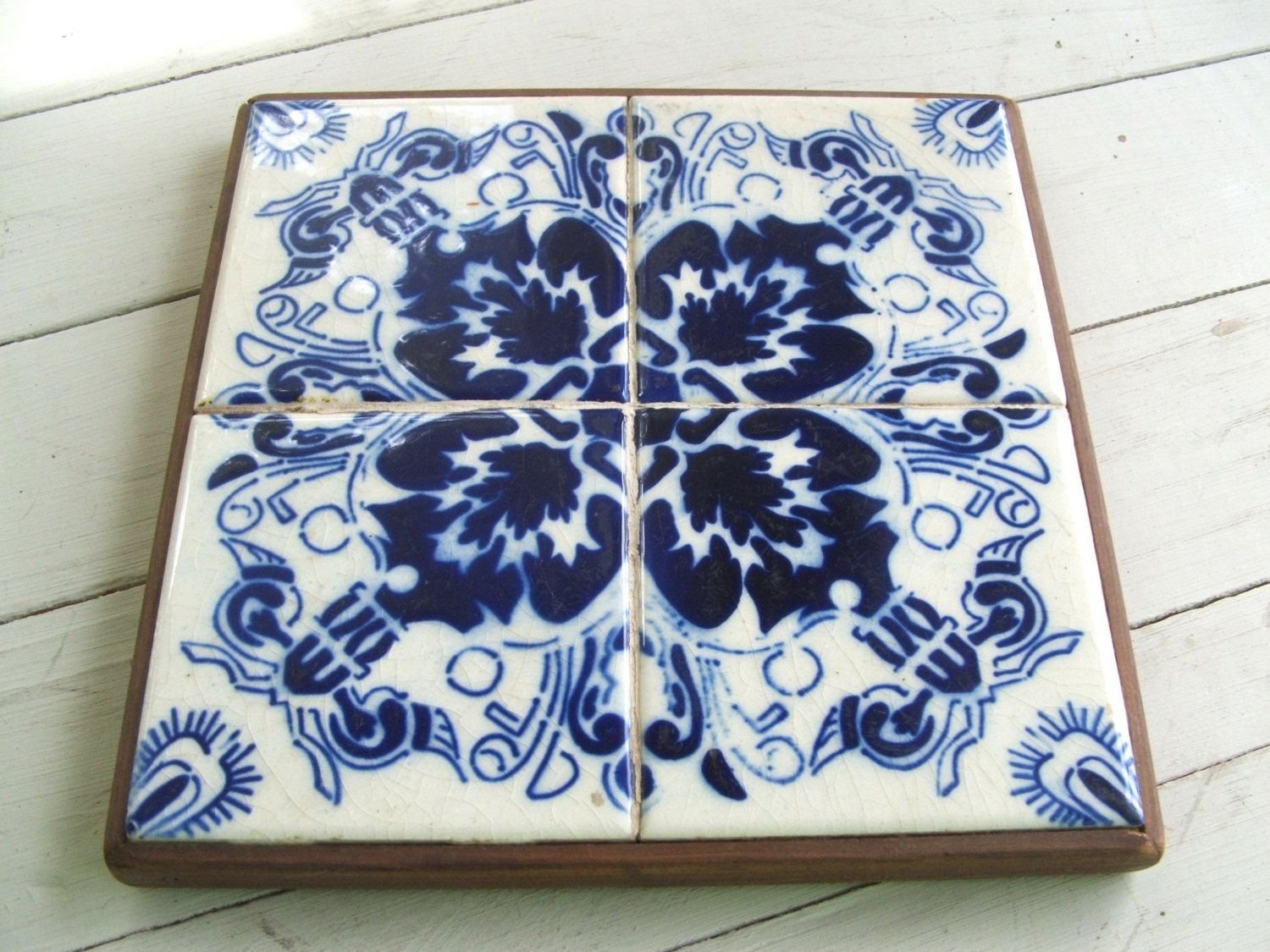 Reserved for karen vintage wood and mexican ceramic tile trivet reserved for karen vintage wood and mexican ceramic tile trivet with cobalt blue and white design dailygadgetfo Choice Image