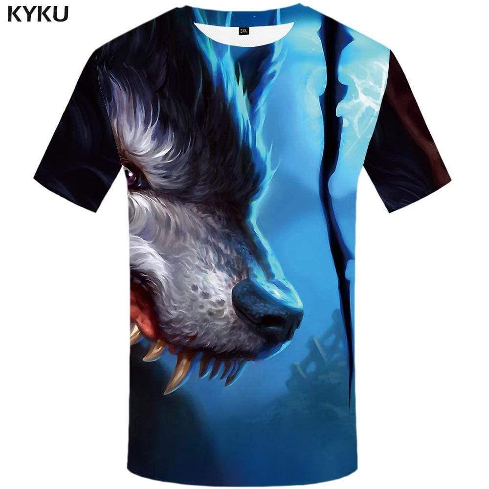 Photo of Wolf T shirt Men War T-shirt 3d Splice Tshirt Anime Blood T shirts Funny Animal Tshirts Print Mens Clothing Short Sleeve Unisex – S