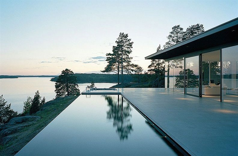 Amazing Pool Lake View House Sweden Id1015 Impressive Glass House In Sweden Modern House Tours Archit Modern Lake House Swedish Architecture Sweden House