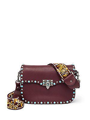 f0217b628c Valentino Rockstud Leather Guitar-Strap Shoulder Bag | Women's Bags ...
