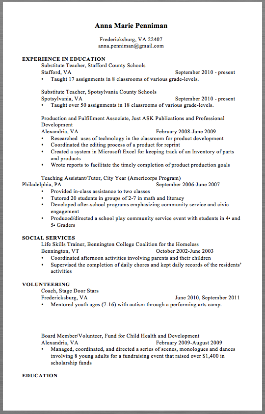 School Resume Examples 2017 Anna Marie Penniman Fredericksburg Va 22407 Anna Penniman Gmail Com Experience In Education Substitute Teacher Stafford County