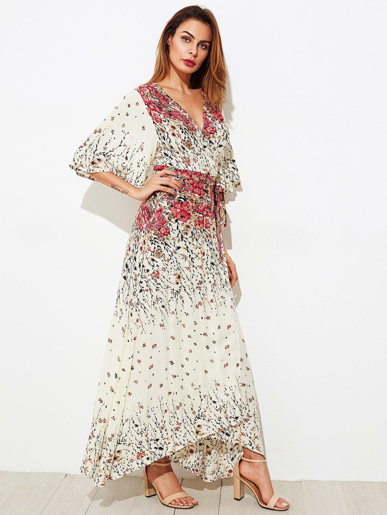 Flower Print Kimono Sleeve Surplice Wrap Dress Dresses Surplice Wrap Dress White Flower Print Dress [ 1785 x 1340 Pixel ]