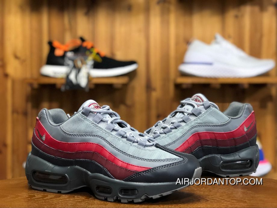 855aed52e5 Nike Air Max 95 Essential 749766-025 Mens Running Shoes Cool Grey Red Free  Shipping