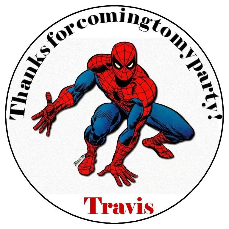 Spiderman birthday party favor bag stickers large personalized labels