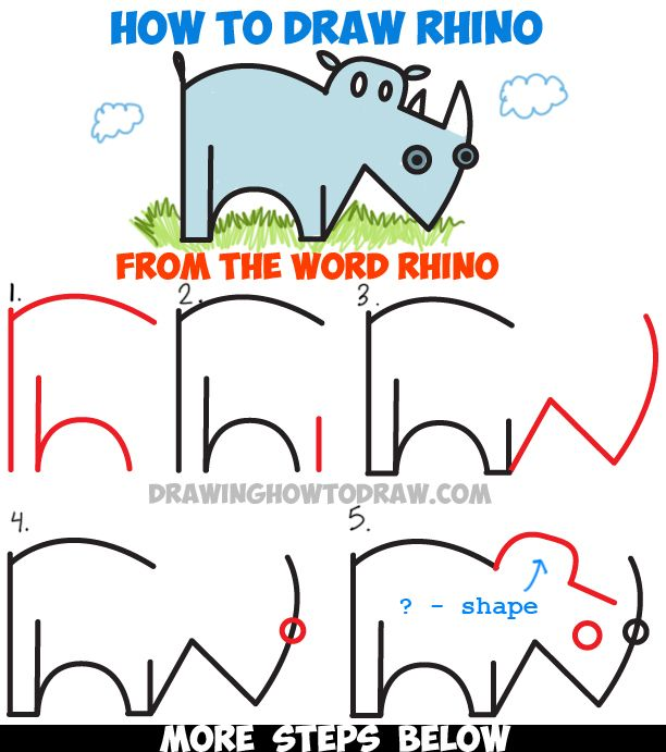 How To Draw A Cartoon Rhino From The Word Rhino Easy Steps Word Toons Tutorial How To Draw Step By Step Drawing Tutorials Step By Step Drawing Drawing Tutorial Word Drawings