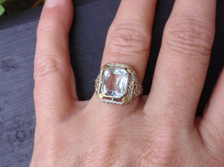 Stunning 10k ladies art deco white gold filigree aquamarine ring ...