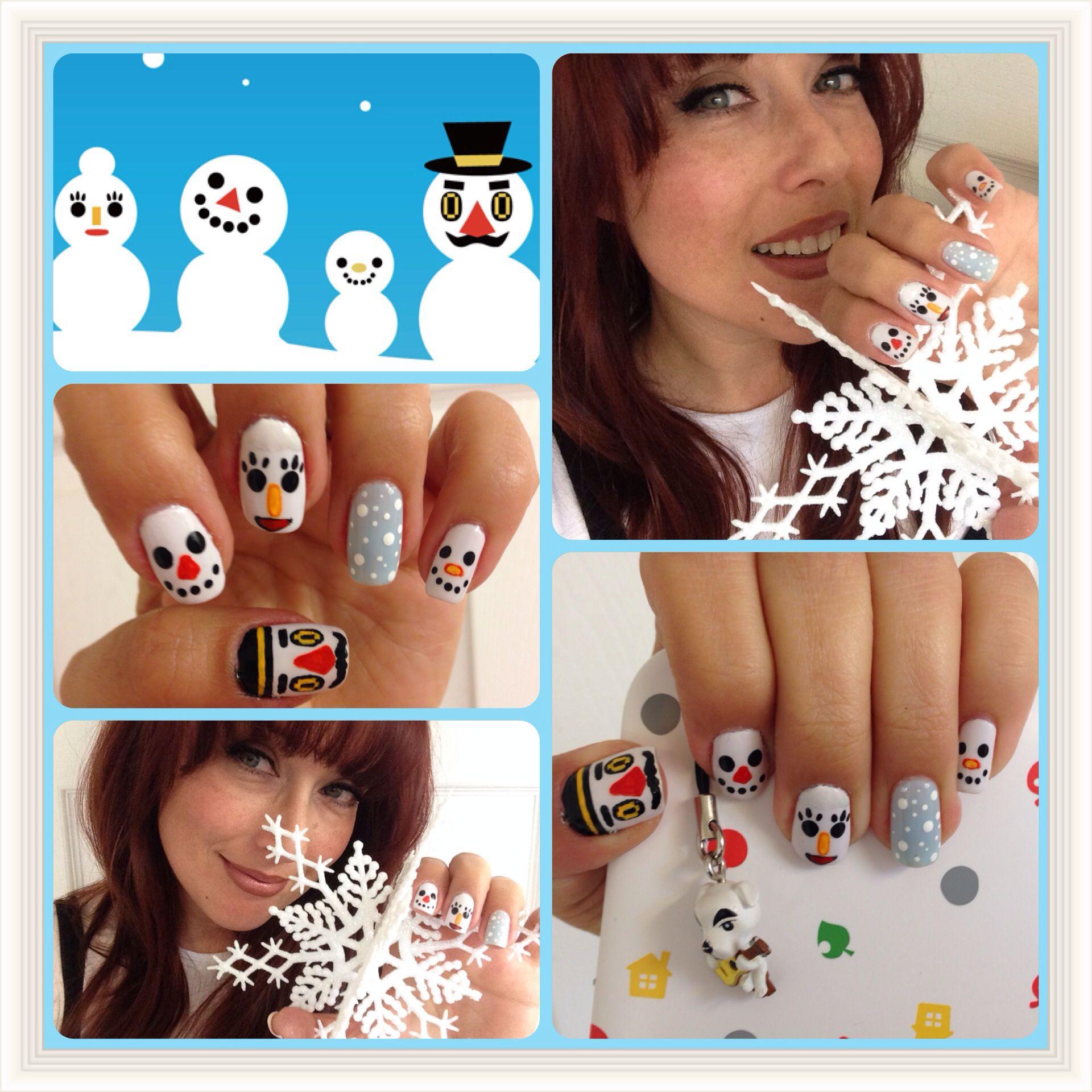 Animal Crossing: New Leaf Snow Family nail art   Nintendo Nail Art ...