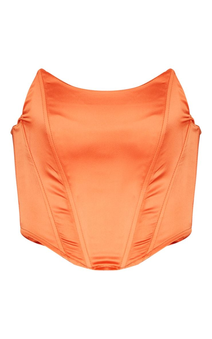 Orange Satin Pointed Hem Bandeau Corset | PrettyLittleThing