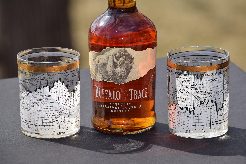Vintage Cera DOW JONES Double Old Fashioned Glasses Set of 5, Whiskey, Bourbon, Scotch On The Rocks glasses, Mad Men, Bar Cart Decor