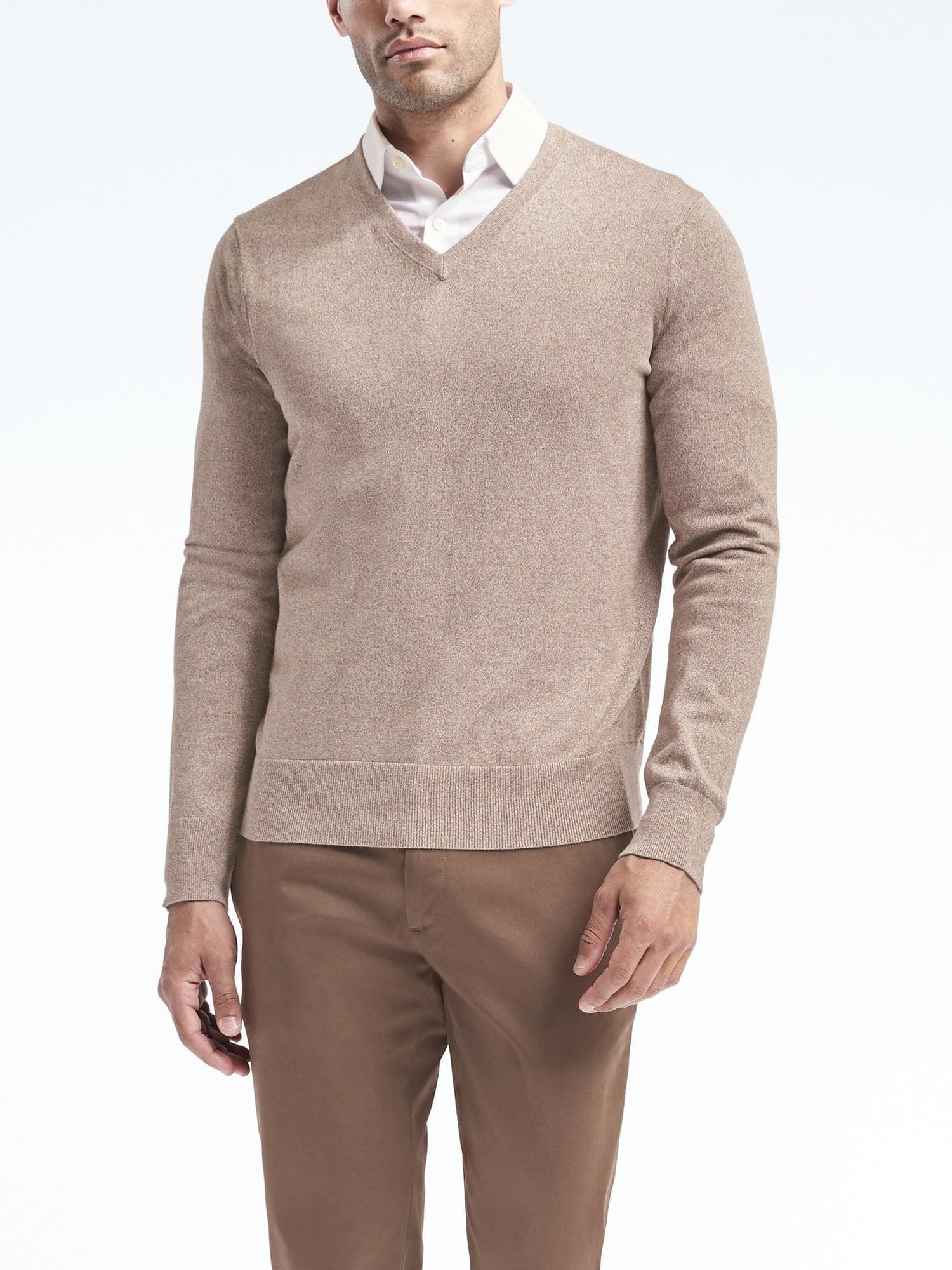 Silk Cotton Cashmere V Neck Sweater Banana Republic In 2020 Sweater Outfits Men Mens Outfits Men Sweater [ 2000 x 1500 Pixel ]
