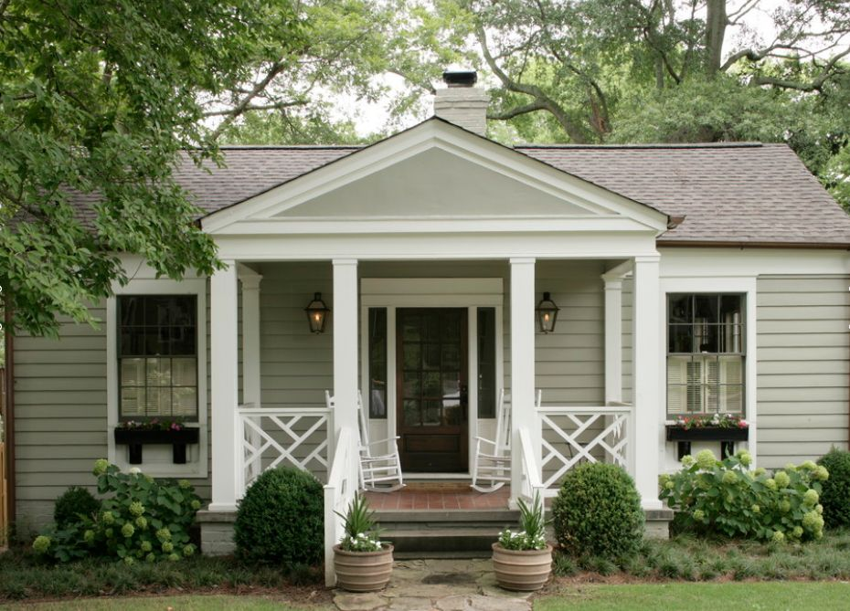 Simple Porch With A Modified Chippendale Baluster On A Modest Ranch Home Cottage Exterior Front Porch Design Porch Design