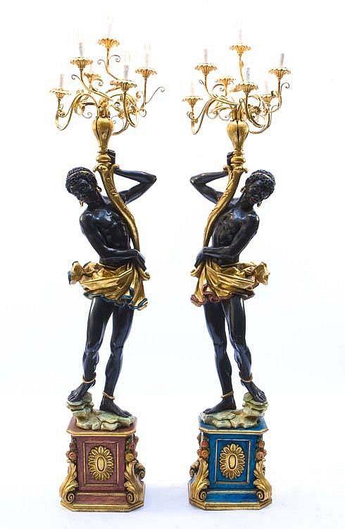Pair Venetian Blackamoor 7 Light Torchieres Antique