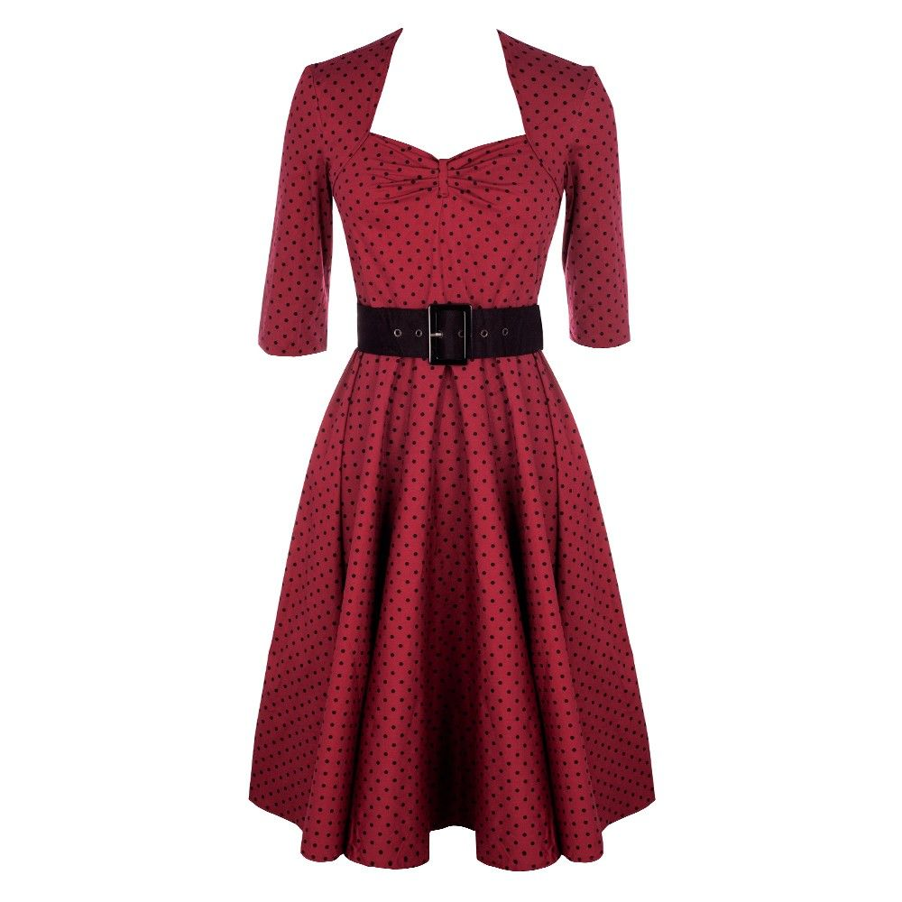This dress is classy and elegant in burgundy but at the same time screams style! With a faux bolero effect top bodice and small polka dot detail to cover this piece is extremely versatile. It can be worn day or night and dressed up or down to make the perfect outfit for any occassion.