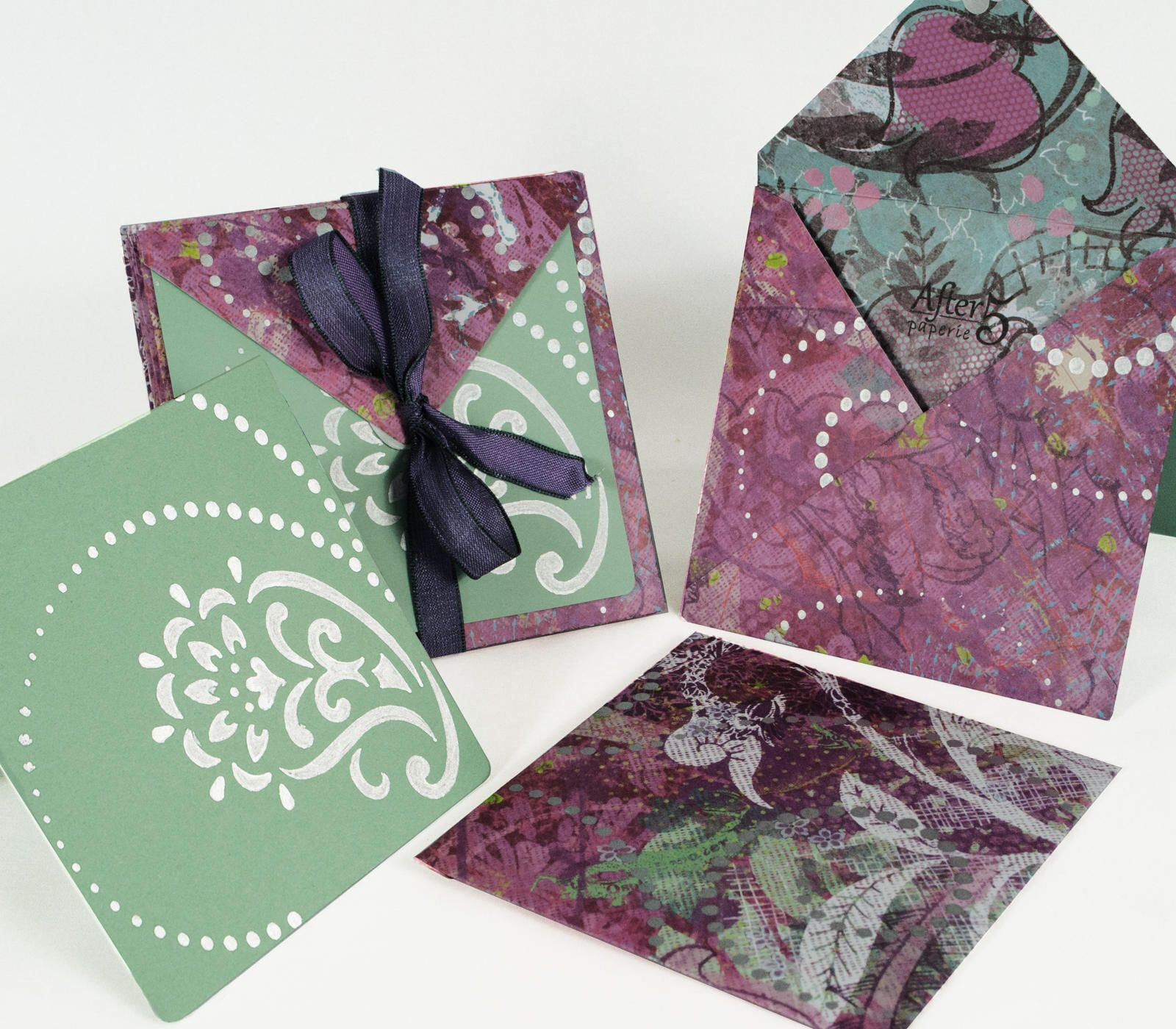 Colored card stock and envelopes - Handmade Envelopes Note Cards Orient Inspired Purple With Silver Detailing Pkg Of 8