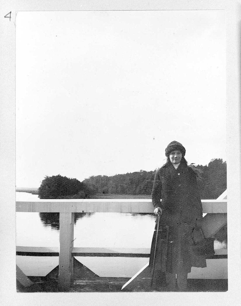 "Grand Duchess Maria Nikolaevna Romanova of Russia on the footbridge at Spala in 1912. ""AL"""