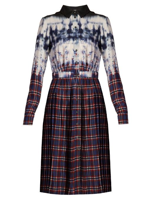 Maria tie-dye and check-print shirtdress Altuzarra OmUzC