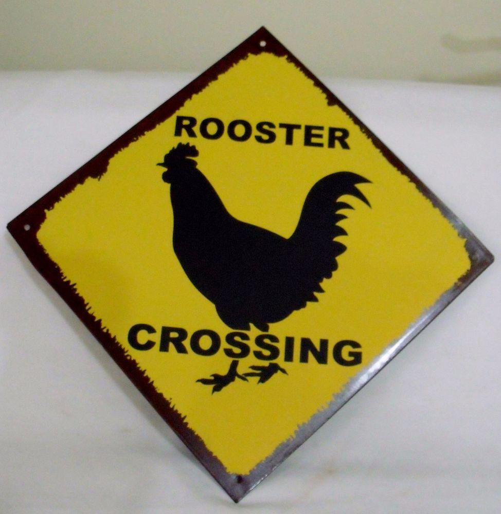NWT Tin Sign Wall Decor Rooster Crossing Gold Black 10x10\