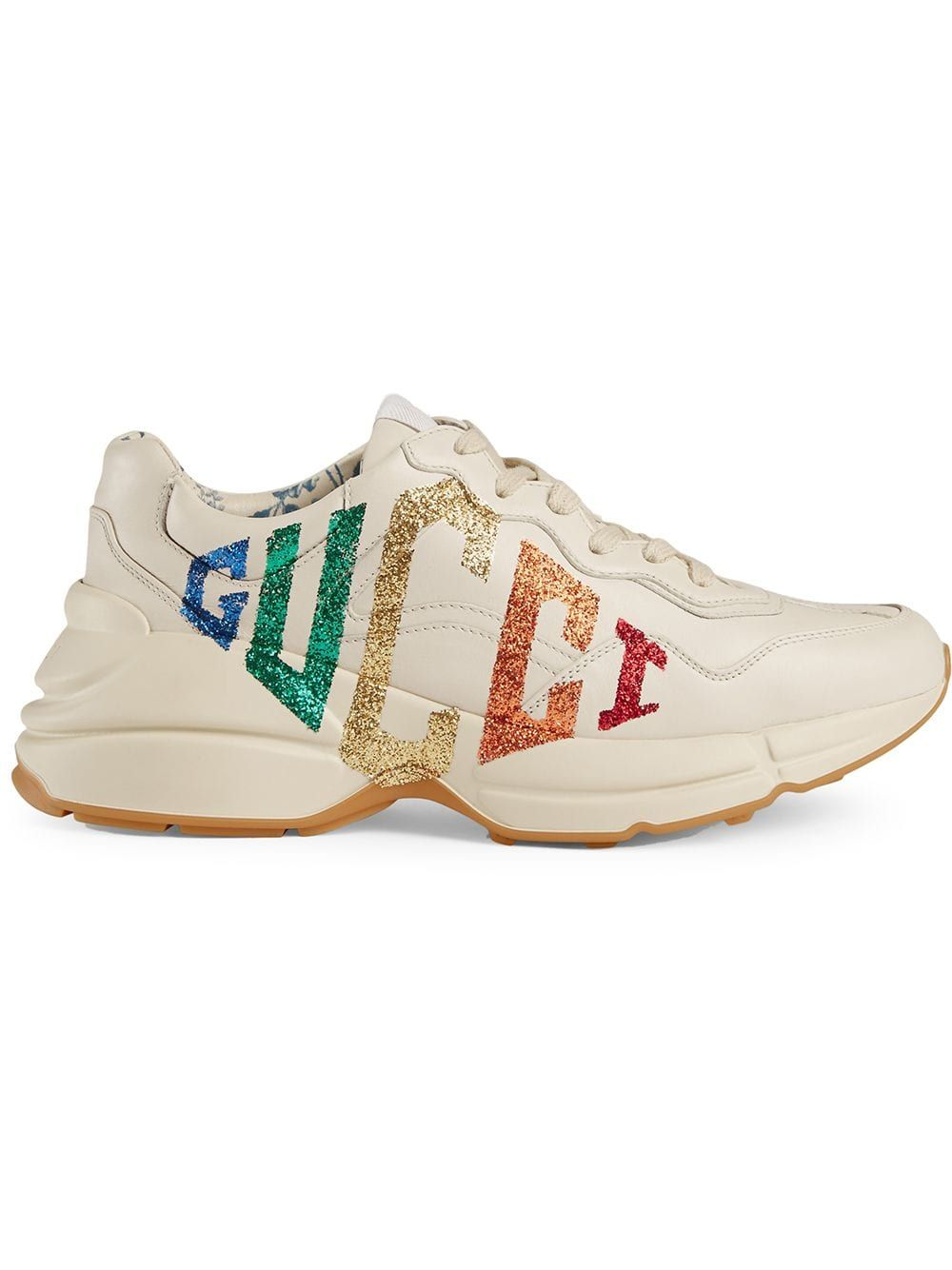 14b623767 Buy online Gucci Rhyton glitter Gucci leather sneaker for $1,100. Purchase  today with fast global delivery, new arrivals, new season