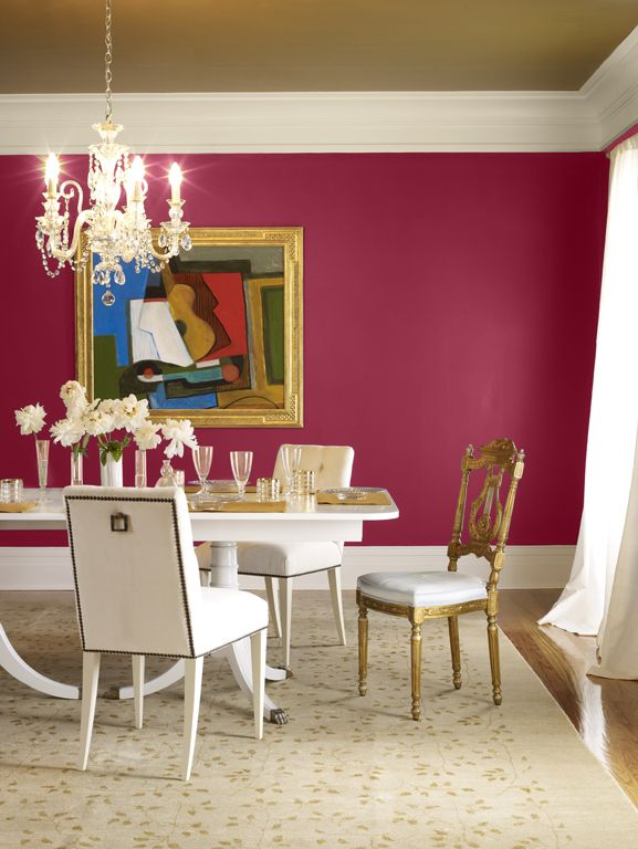 Benjamin Moore Chinaberry 1351 walls in a dining room with gold