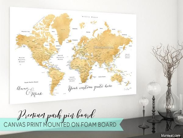 Personalized premium push pin board featuring your custom quote personalized premium push pin board featuring your custom quote gold world map with cities gumiabroncs Image collections