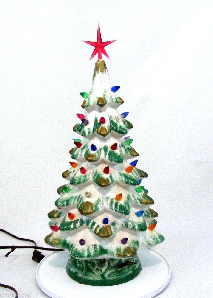 Vintage Musical Ceramic Christmas Tree Lighted Plays White Christmas