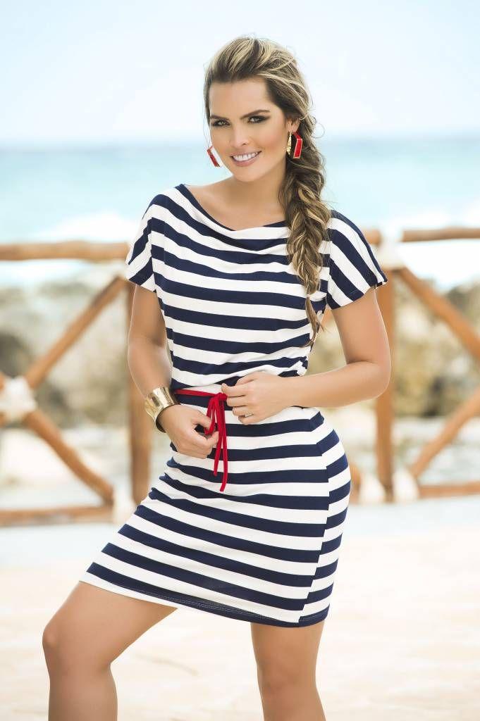 blauw wit streep jurk