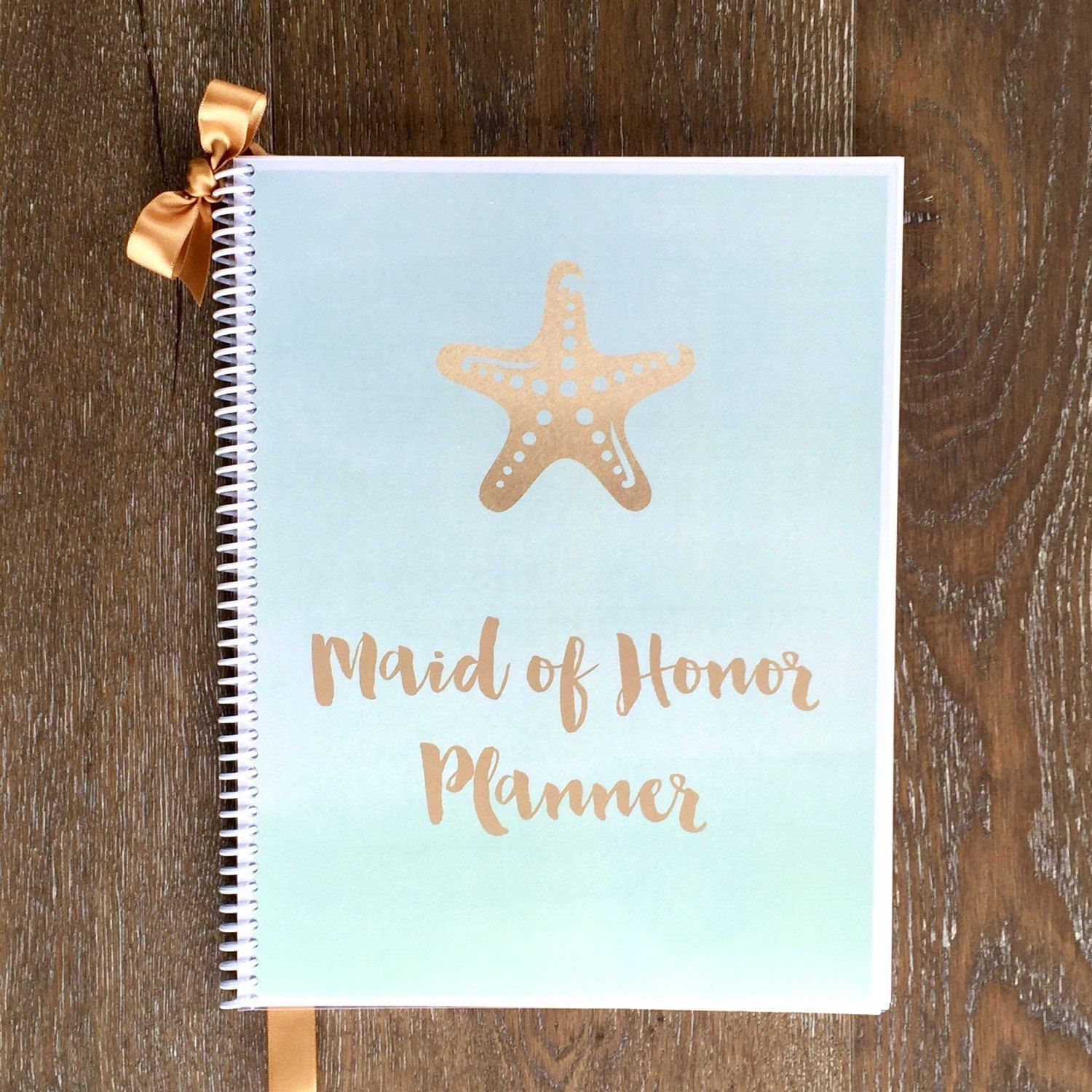bridal shower keepsake book%0A Maid of Honor Wedding Planner Book  u     Wedding Organizer  Starfish Design   Wedding Planner Keepsake  Bridal Shower  Maid of Honor
