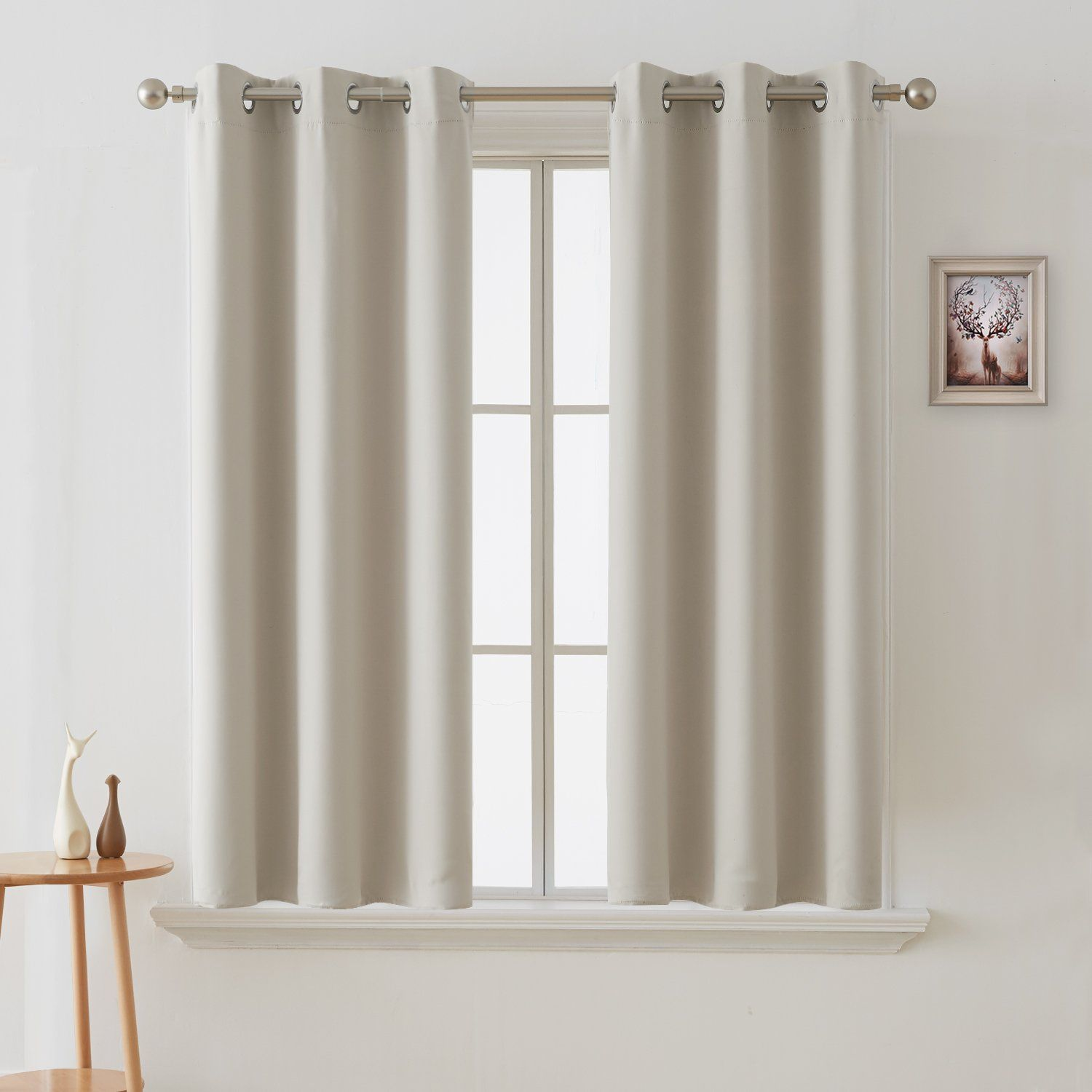 Deconovo Room Darkening Curtain Thermal Insulated Blackout Curtains For Kids Room Light Beige 38 X 63 Inch 2 Panels Insulated Curtains Curtains Kids Curtains