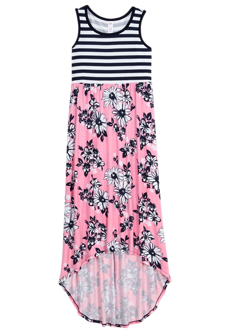 Baby pink plus size dress Floral Stripe High Low Maxi Dress original price  available