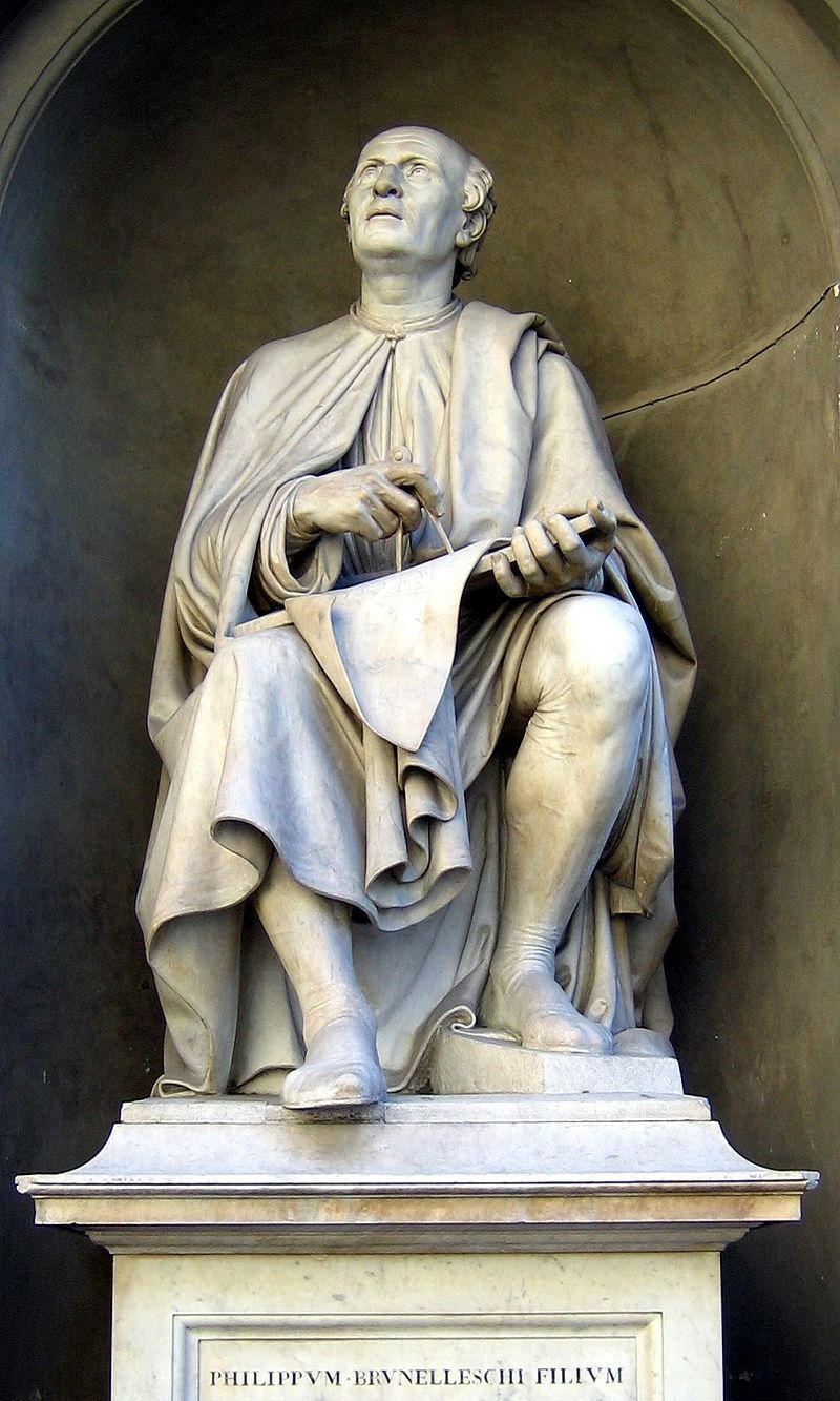 Image result for Brunelleschi is still looking up at his magnificent accomplishment. Statue by Luigi Pampaloni - 1830