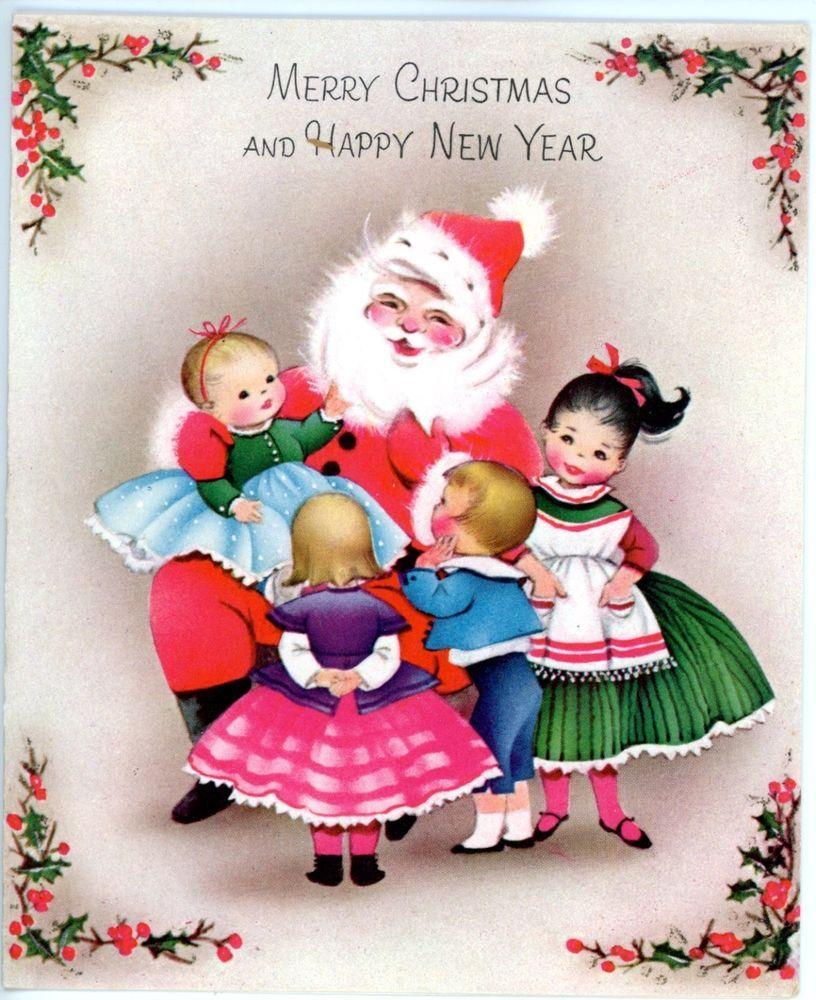 Vintage Norcross Greeting Card Christmas Happy New Year Santa W