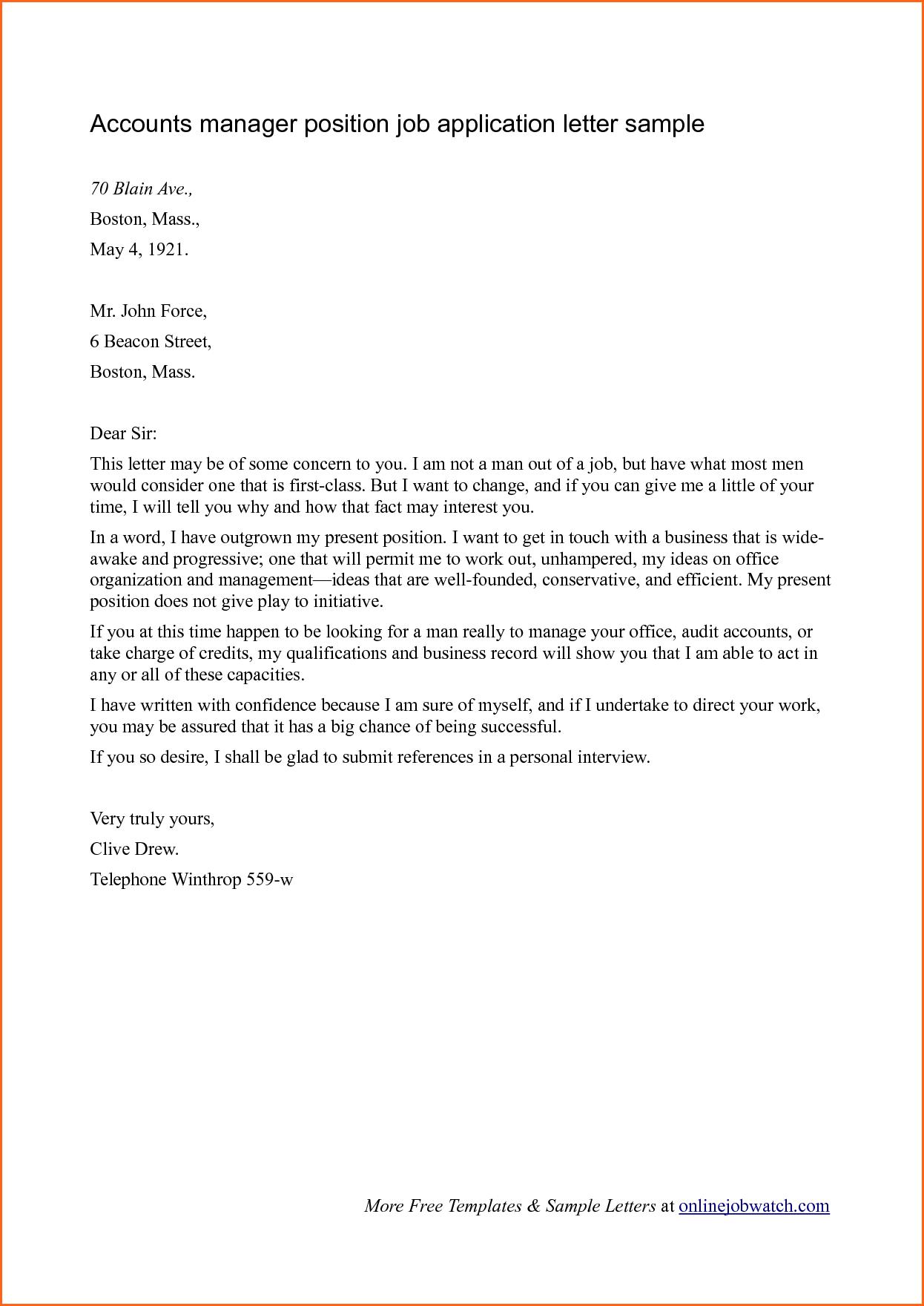 New Letter format for Job Job application letter sample