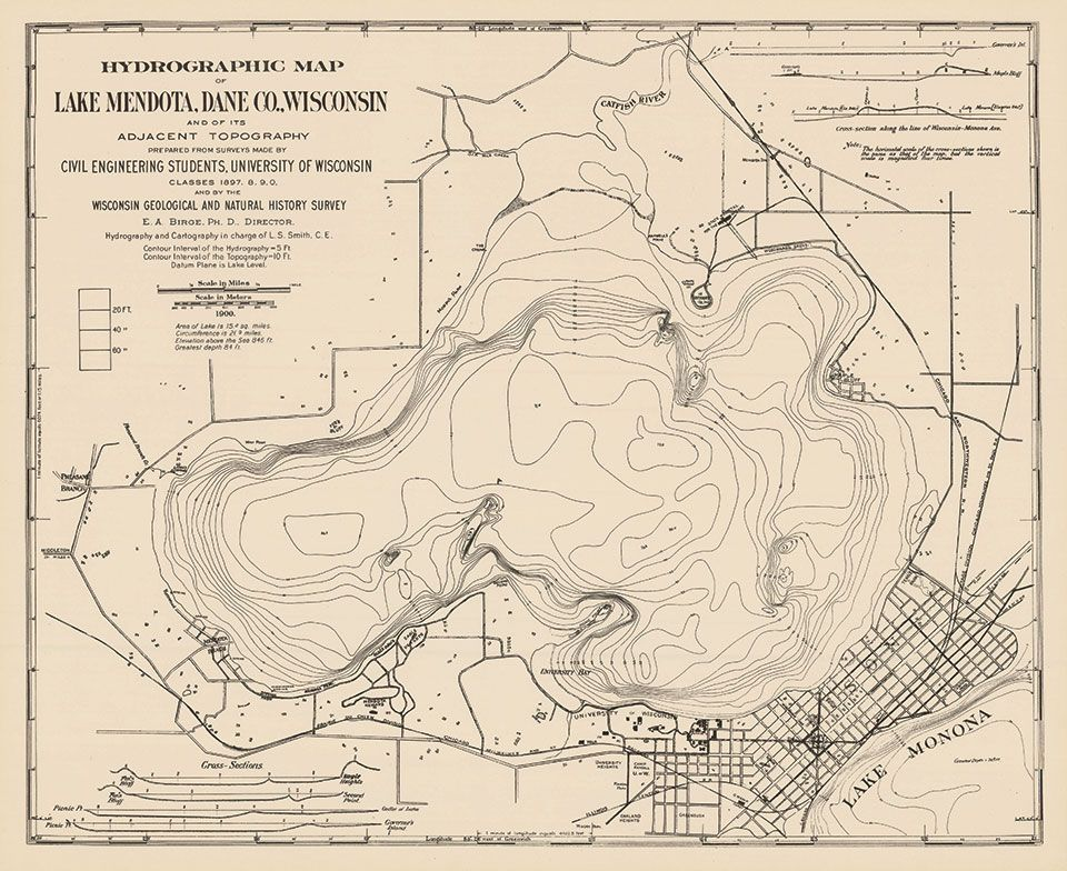 lake mendota topographic map Hydrographic Map Of Lake Mendota Dane County Wisconsin And Of lake mendota topographic map