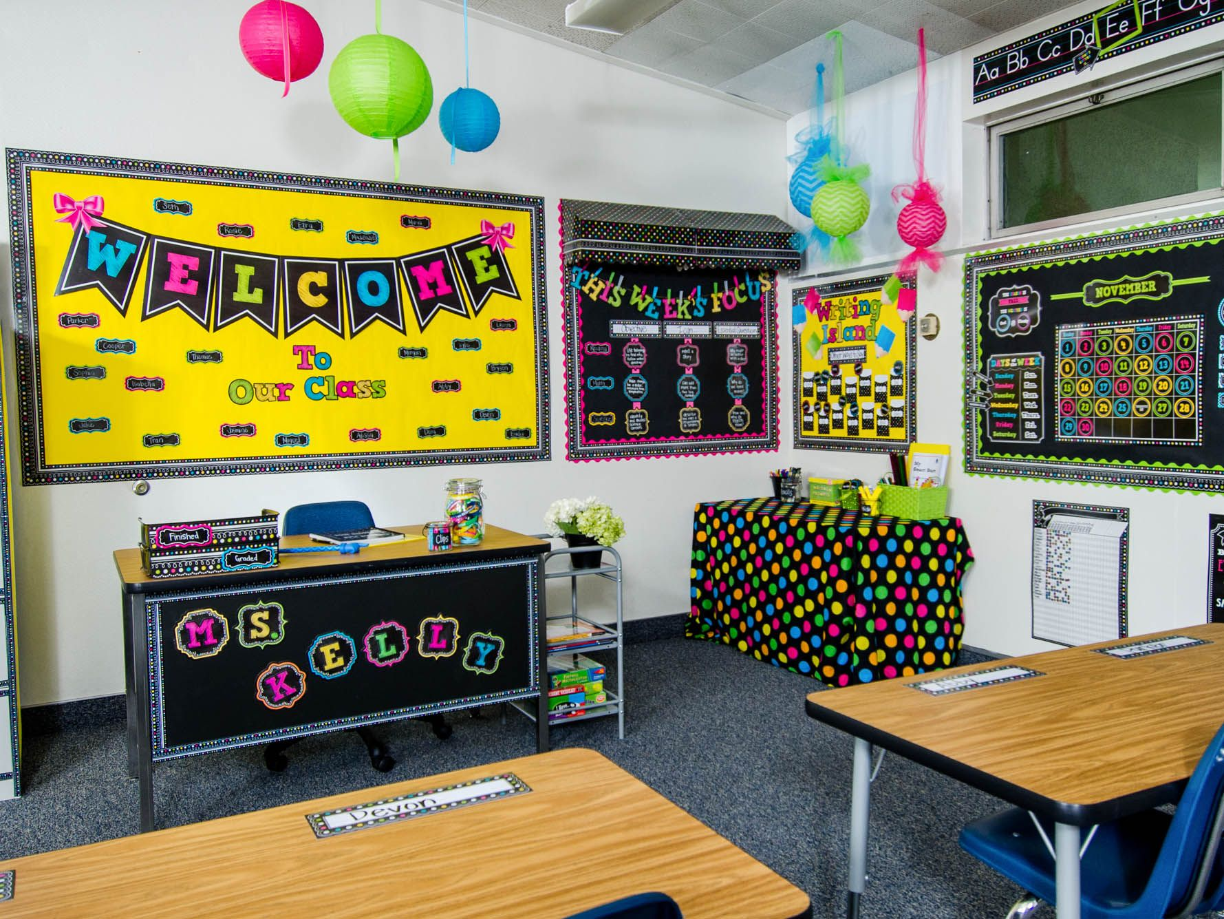 Classroom Decoration Colorful ~ Chalkboard brights classroom th grade pinterest
