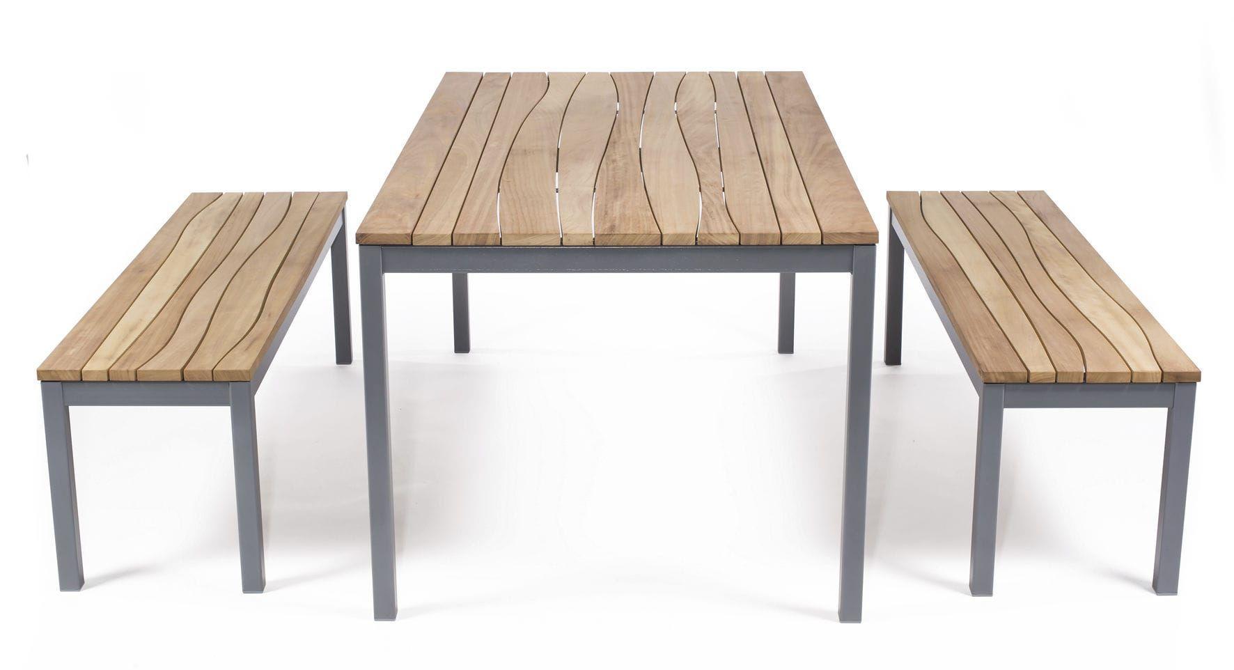 Bank- Und Tischgarnitur / Moderne / Aus Stahl / Holz / Für