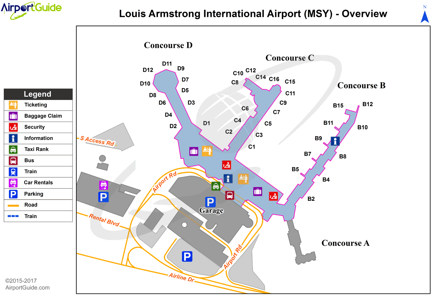 new orleans terminal map New Orleans Louis Armstrong New Orleans International Msy new orleans terminal map