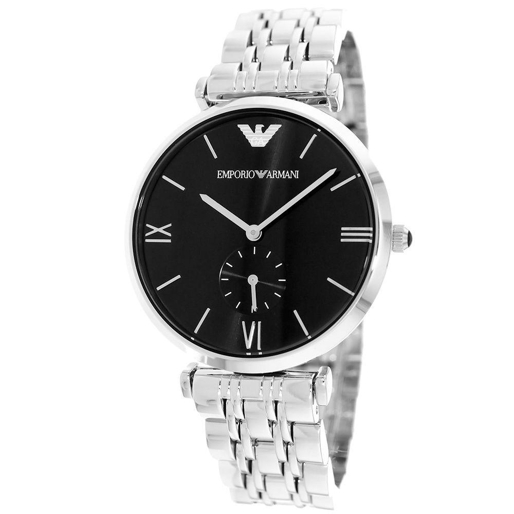 emporio armani men s retro ar1676 silver stainless steel quartz 7 10 emporio armani men s retro ar1676 silver stainless steel quartz watch black