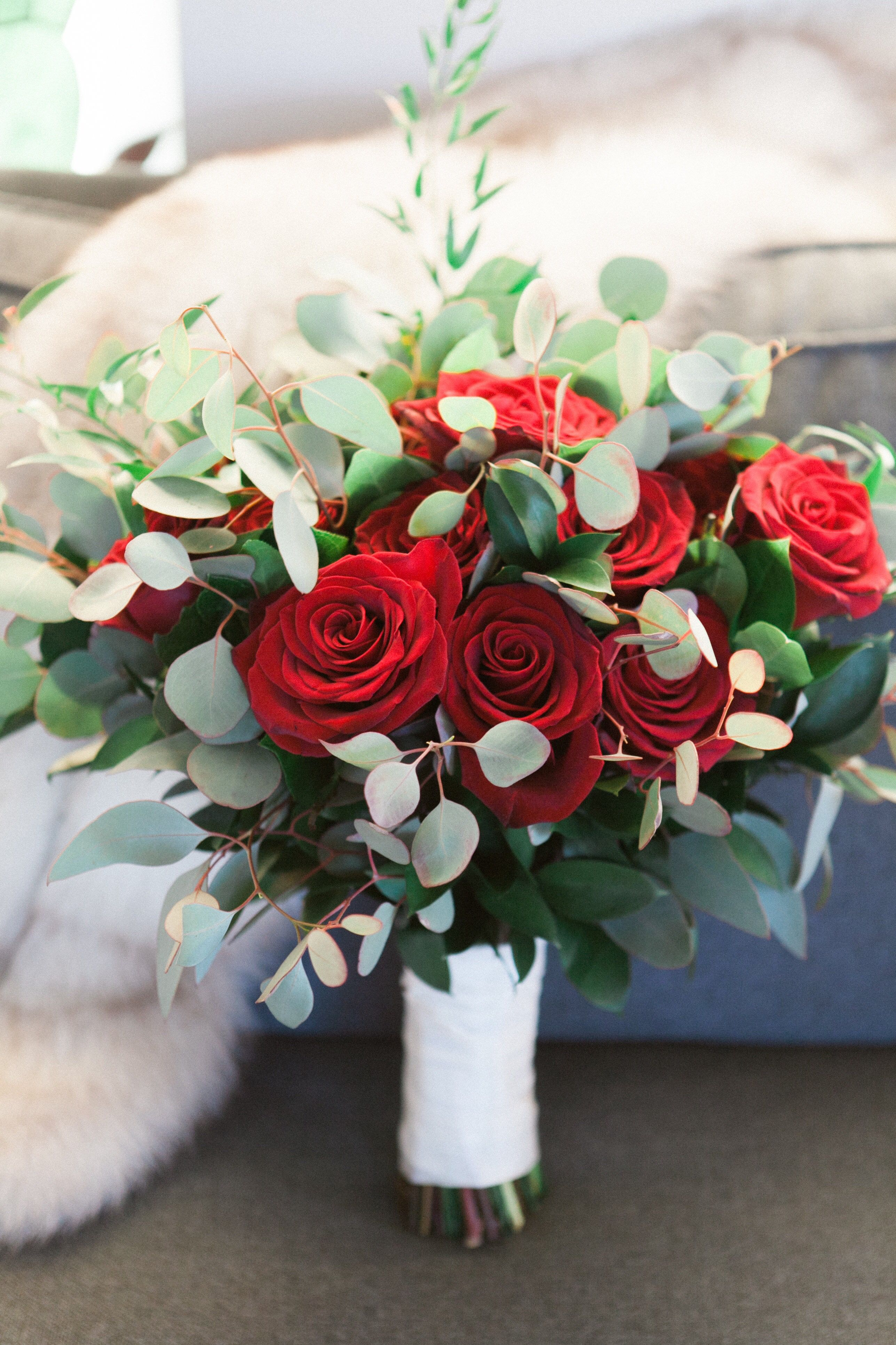 Gorgeous Bridal Bouquet With Red Roses And Eucalyptus Contact