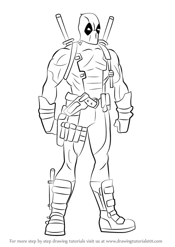 Learn How to Draw Deadpool Full Body (Deadpool) Step by