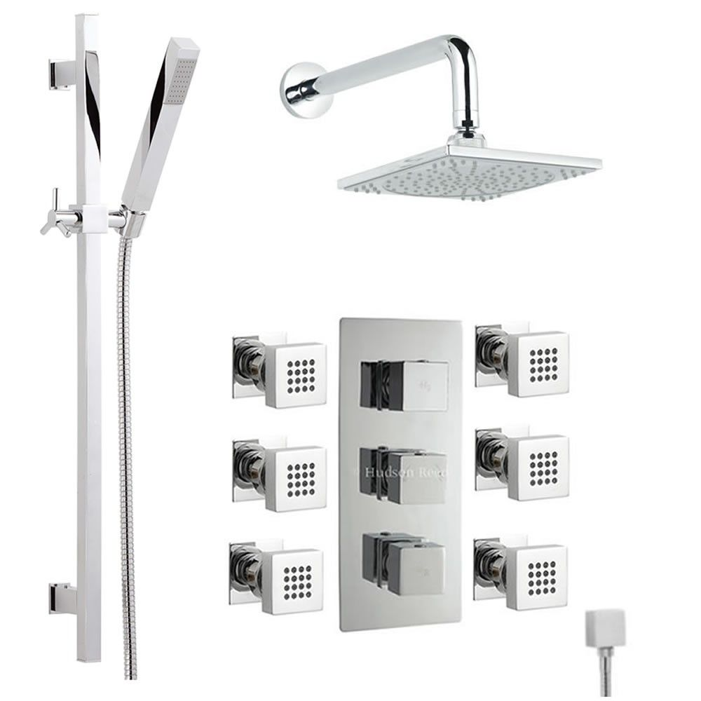 Thermostatic Shower System with Slider Rail Kit & 6 Body Spray Jets ...
