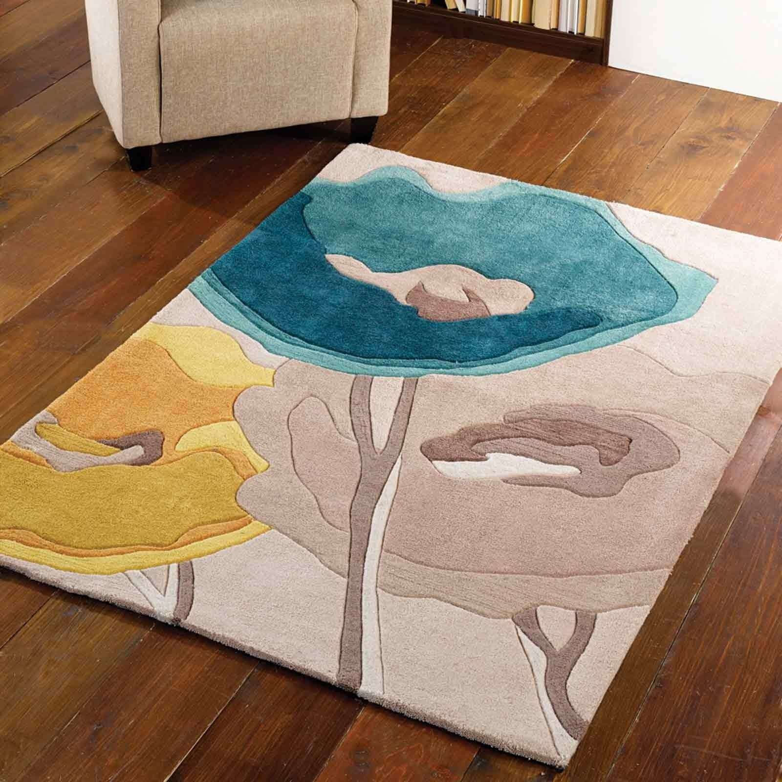 Infinite Modern Art Poppy Flowers Rugs In Teal Yellow Free Uk Within And