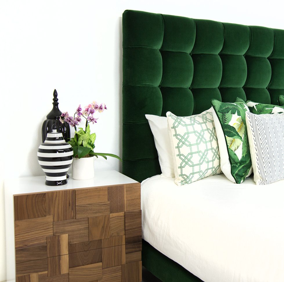 Gorgeous Green Tufted Headboard On This Amazing Master Bedroom Design